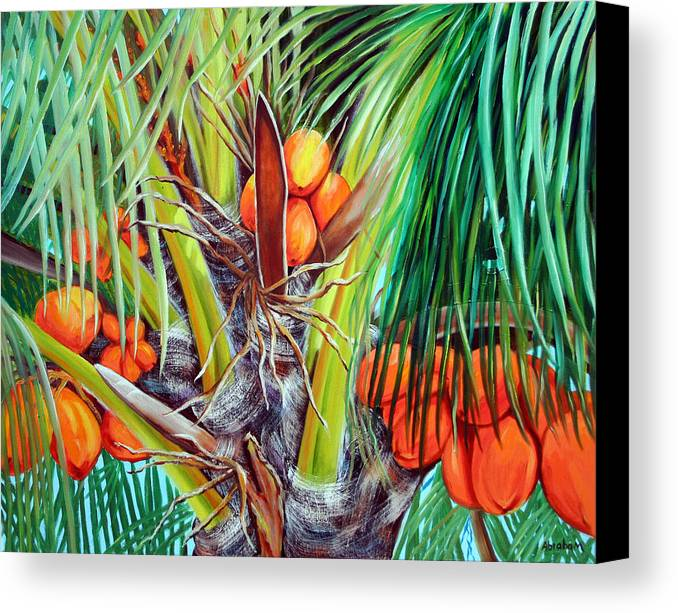 Coconuts Canvas Print featuring the painting Golden Coconuts by Jose Manuel Abraham