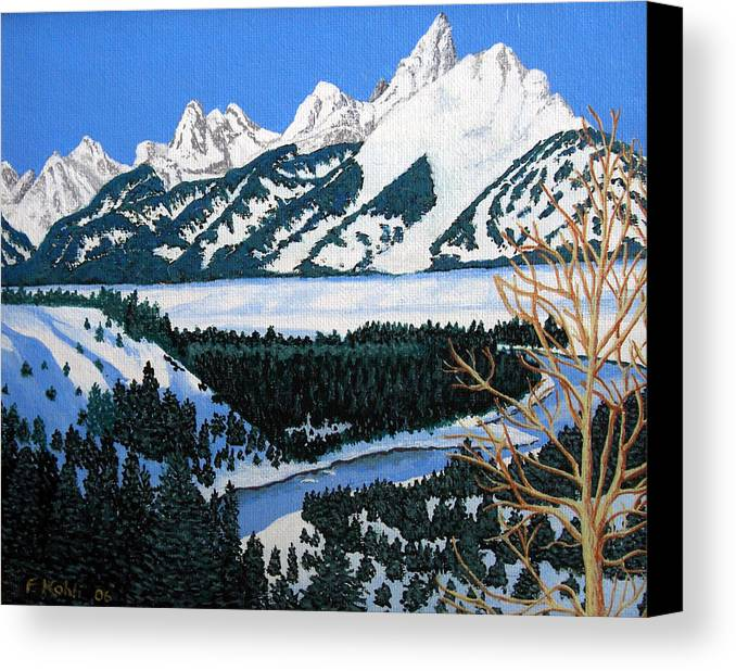 Landscape Art Canvas Print featuring the painting Grand Teton by Frederic Kohli