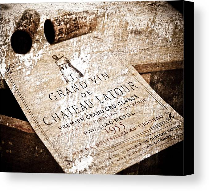 Frank Tschakert Canvas Print featuring the mixed media Great Wines Of Bordeaux - Chateau Latour 1955 by Frank Tschakert