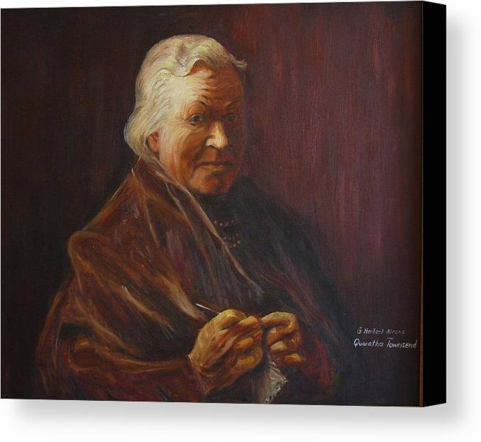 Woman Canvas Print featuring the painting Herbert Abrams Mother by Quwatha Valentine