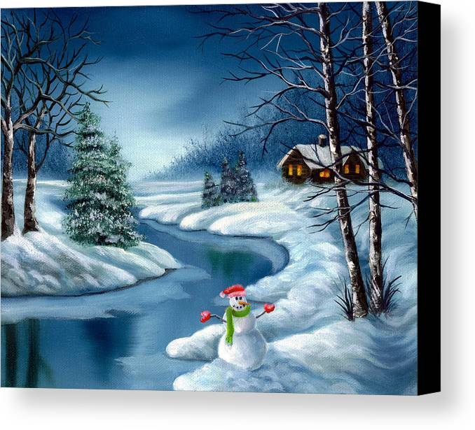 Holidays Canvas Print featuring the painting Home For The Holidays by Daniel Carvalho