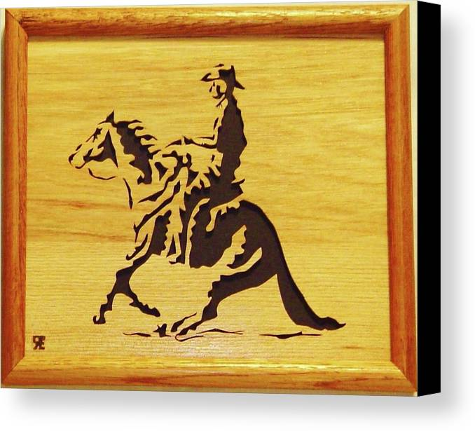 Sculpture Canvas Print featuring the sculpture Horse With Rider by Russell Ellingsworth