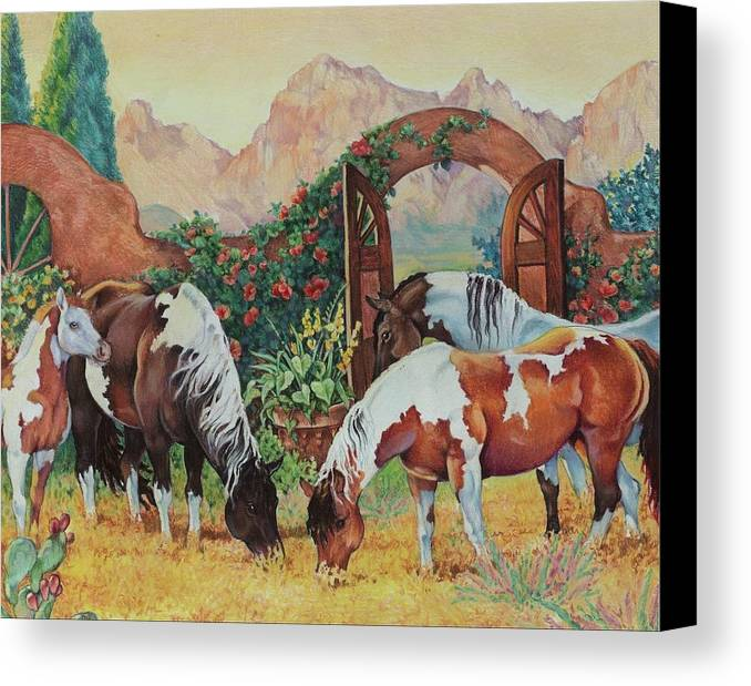 Pintos Canvas Print featuring the painting In The Garden by Eden Alvernaz