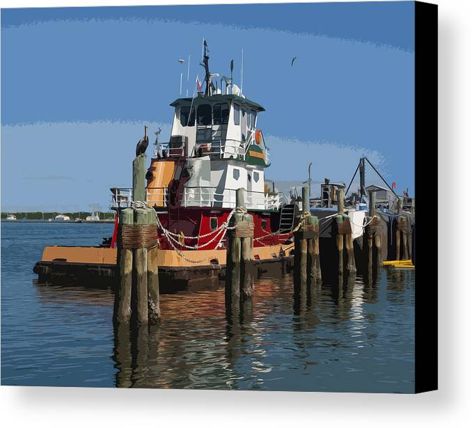 Tug Canvas Print featuring the painting Indian River by Allan Hughes
