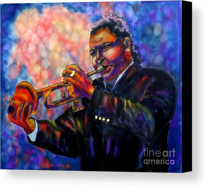 Trumpet Canvas Print featuring the painting Jazz Solo by Linda Marcille