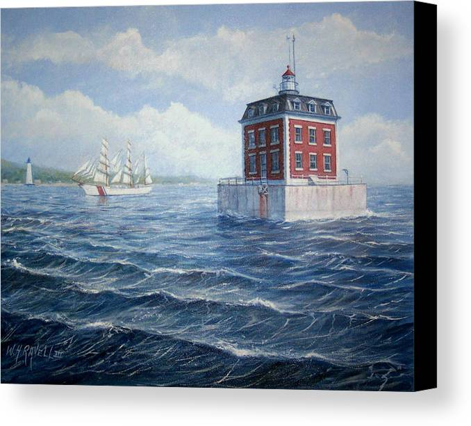 Lighthouse Canvas Print featuring the painting Ledge Lighthouse by William H RaVell III