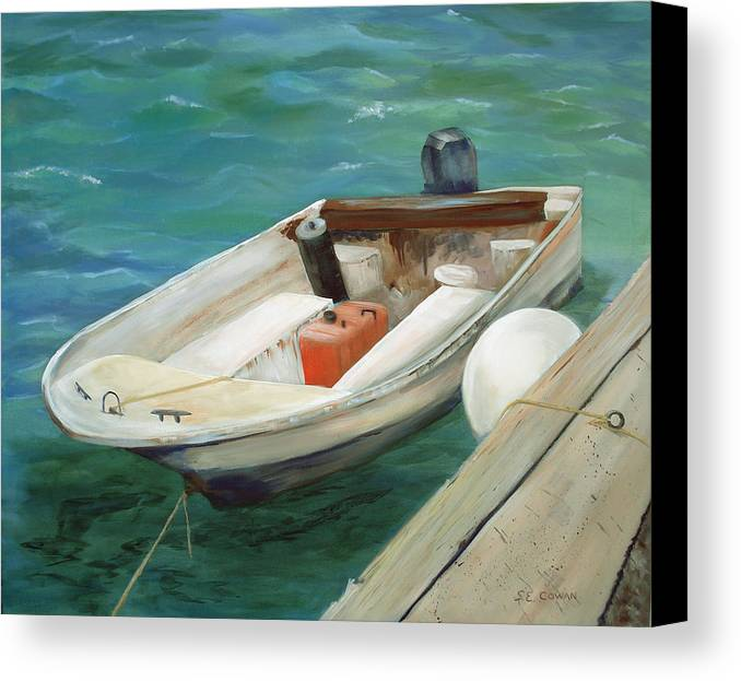 Seascape Canvas Print featuring the painting Lets Go Fishing by SueEllen Cowan