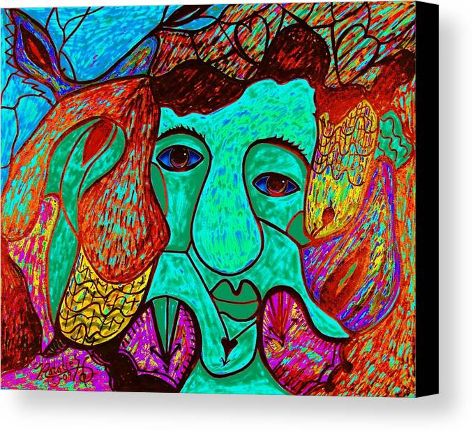 Man Canvas Print featuring the painting Looking For Love by Natalie Holland