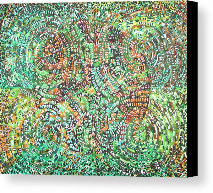 Non-objective Canvas Print featuring the painting Microcosm Xi by Rollin Kocsis