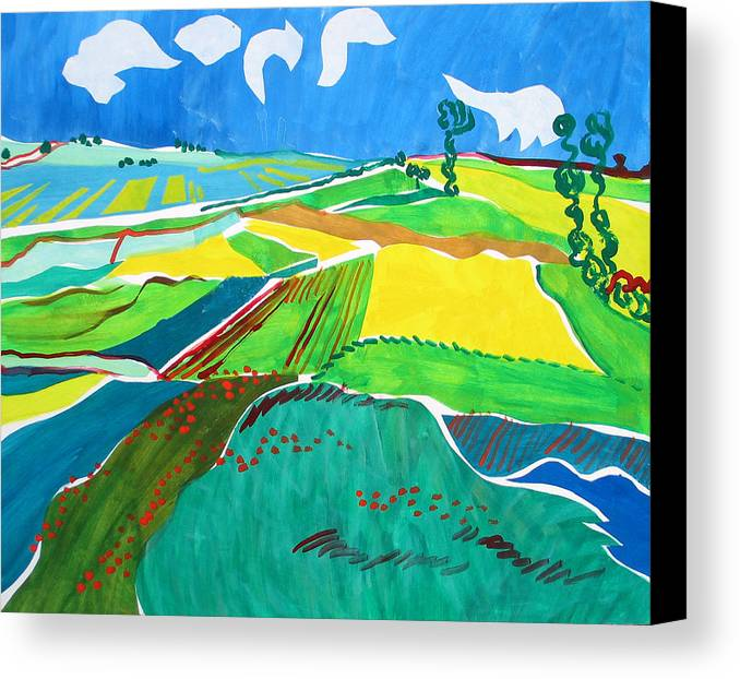 Landscape Canvas Print featuring the painting Moravian Landscape by Vitali Komarov