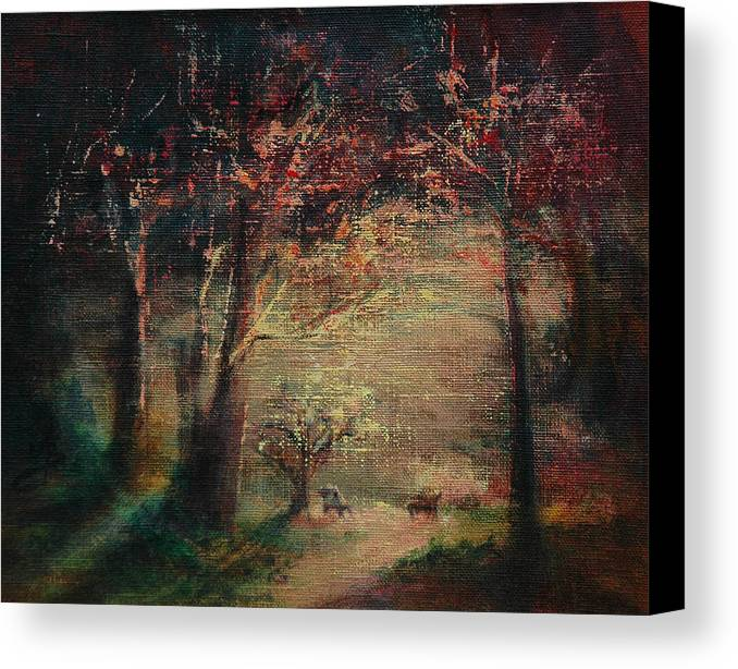 Gift Canvas Print featuring the painting Morning Glitter by Aneta Berghane