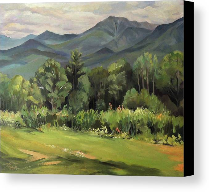 White Mountain Paintngs Canvas Print featuring the painting Mount Lafayette From Sugar Hill New Hampshire by Nancy Griswold