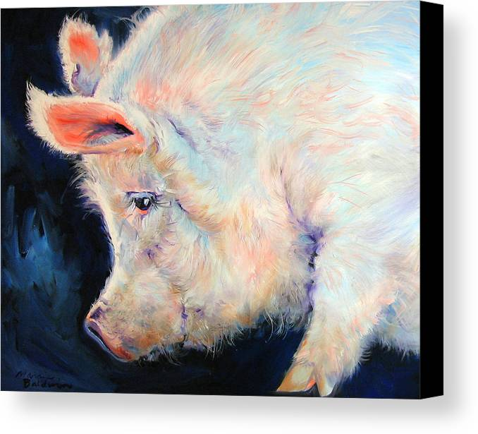 Pig Canvas Print featuring the painting My Pink Pig For A Lucky Day By M Baldwin by Marcia Baldwin