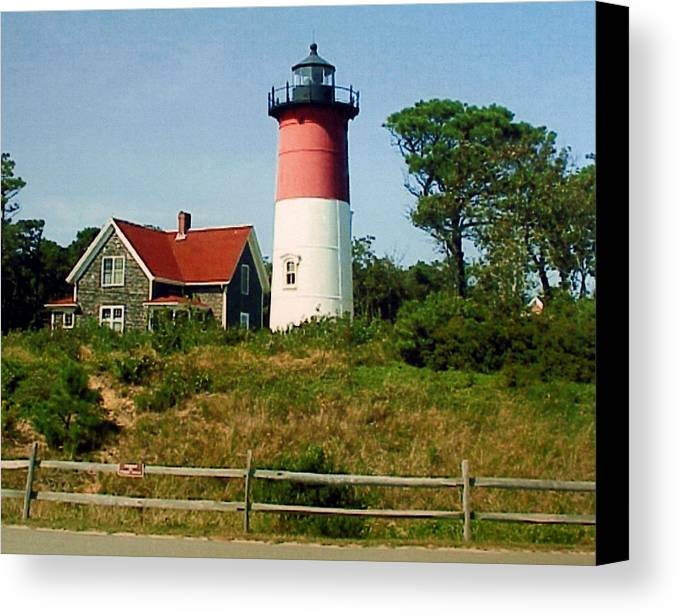 Landscape Photographs Canvas Print featuring the photograph Nauset Lighthouse by Frederic Kohli