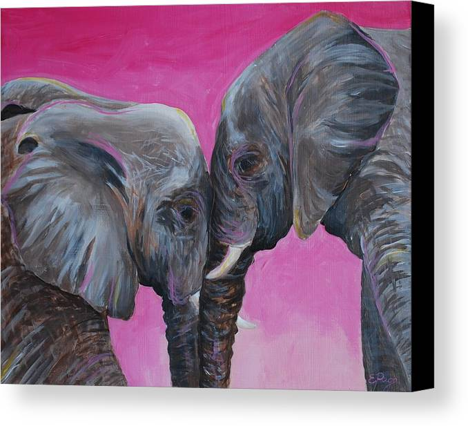 Elephant Canvas Print featuring the painting Nose To Nose In Pink by Emily Page
