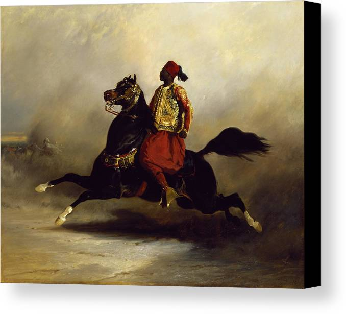 Nubian Canvas Print featuring the painting Nubian Horseman At The Gallop by Alfred Dedreux or de Dreux