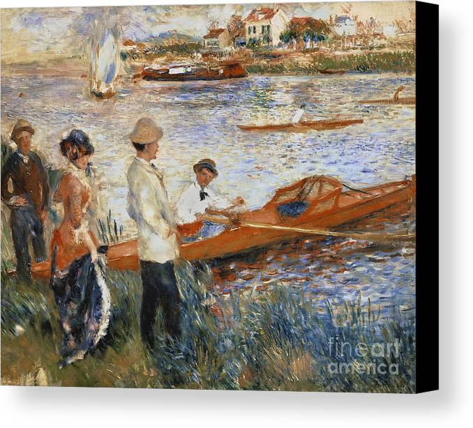 Oarsmen At Chatou Canvas Print featuring the painting Oarsmen At Chatou by Pierre Auguste Renoir