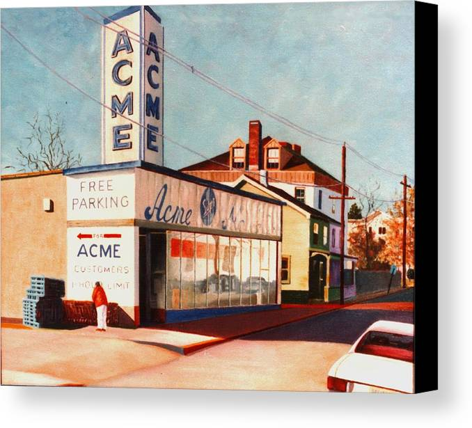 Supermarket Canvas Print featuring the painting Old Acme Lambertville Nj by Robert Henne