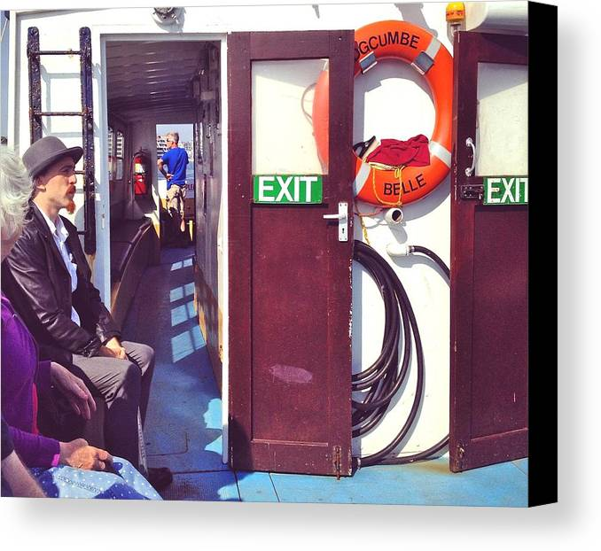 Ferry Canvas Print featuring the photograph On The Edgecumbe Belle by Steve Swindells