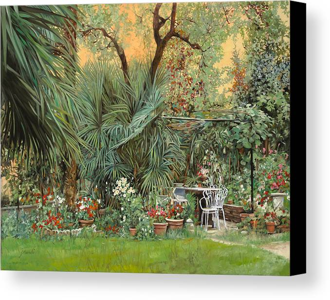 Garden Canvas Print featuring the painting Our Little Garden by Guido Borelli