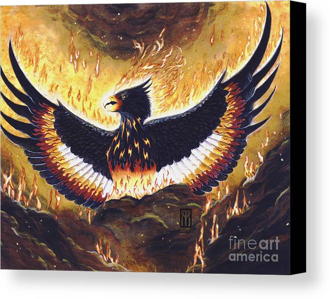 Phoenix Canvas Print featuring the painting Phoenix Rising by Melissa A Benson