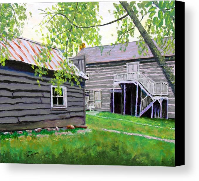 Log Cabin Canvas Print featuring the painting Pioneer Village One by Stan Hamilton