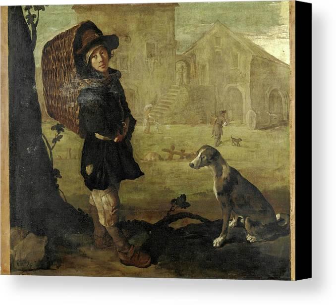 Giacomo Ceruti Canvas Print featuring the painting Portarolo Col Cane by Giacomo Ceruti