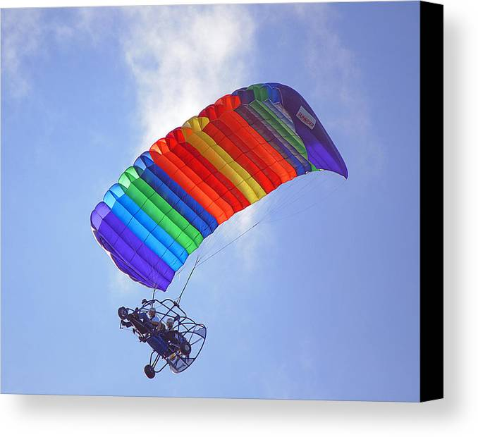 Parasail Canvas Print featuring the photograph Powered Parasailing 1 by Kenneth Albin