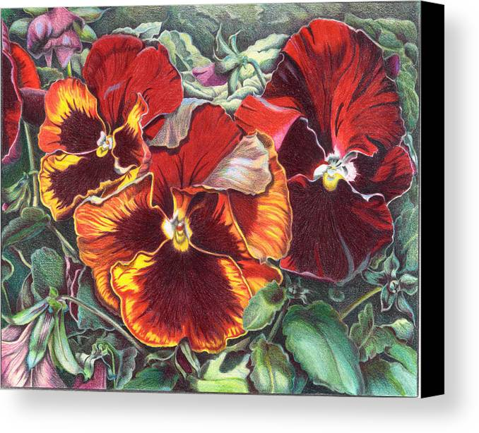 Florals Canvas Print featuring the painting Ring Of Fire by Joyce Hutchinson