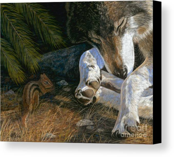 Wolf Canvas Print featuring the painting Risky Business by Sheri Gordon