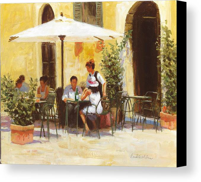 Impressionism Canvas Print featuring the painting Roman Lunch by Paul Milner