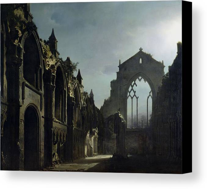 Ruins Of Holyrood Chapel (oil On Canvas) By Louis Jacques Mande Daguerre (1787-1851) Ruin; Remains; Scottish; English Architecture; Gothic; Pointed Arch; Window; Edinburgh; Nocturne; Moonlight; Atmospheric; Ruines; Chapelle; Gothic Canvas Print featuring the painting Ruins Of Holyrood Chapel by Louis Jacques Mande Daguerre