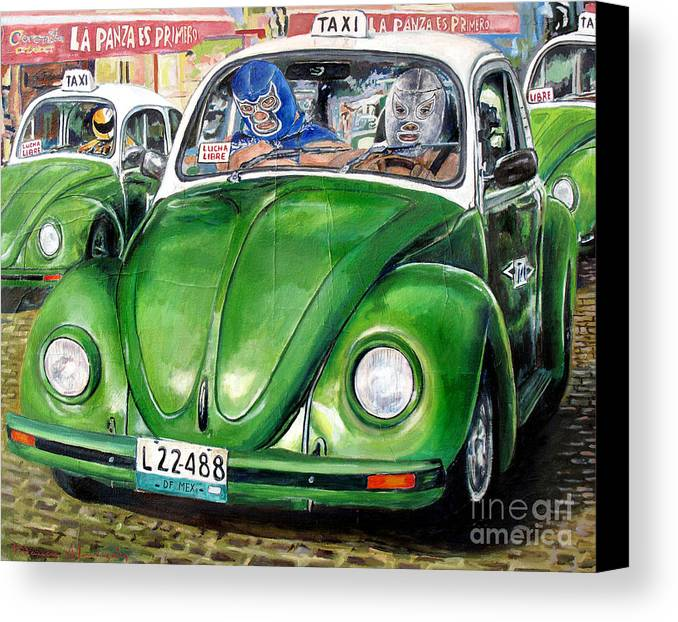 Taxi Canvas Print featuring the painting Santo Y Blue Demon by Nancy Almazan