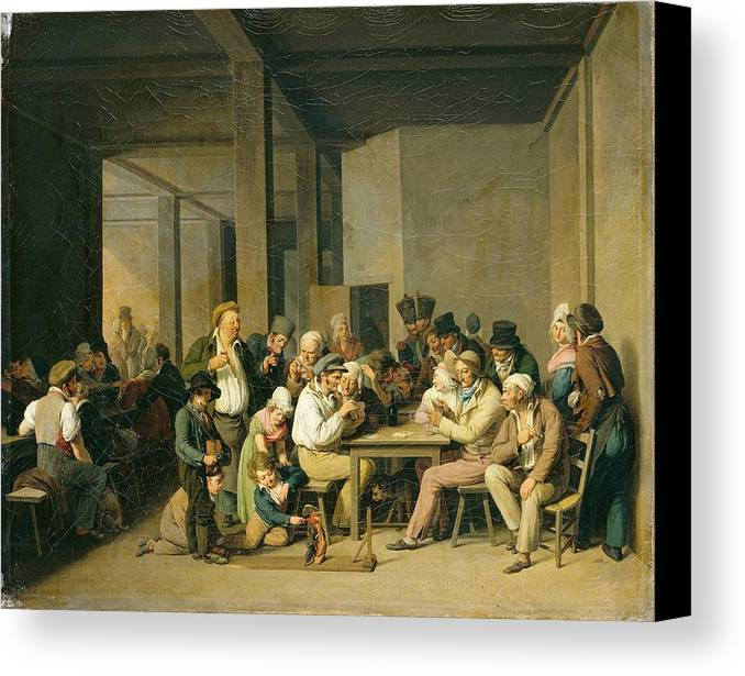 Louis-léopold Boilly - Scene De Cabaret Canvas Print featuring the painting Scene De Cabaret by MotionAge Designs