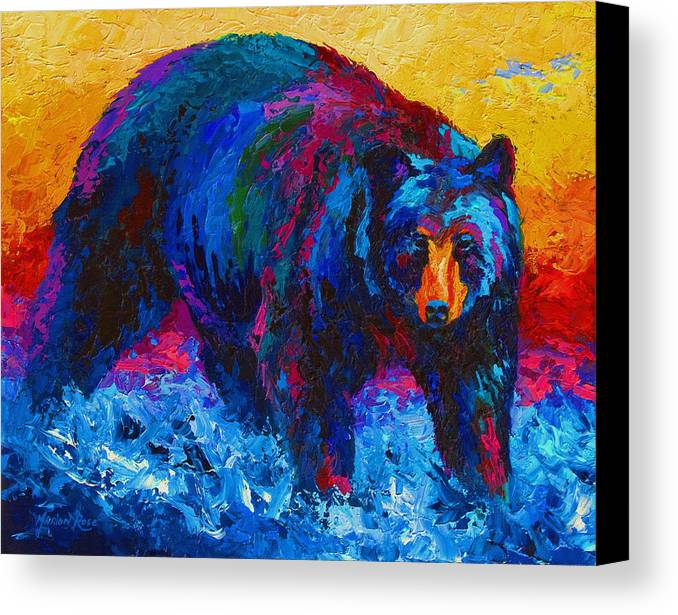 Western Canvas Print featuring the painting Scouting For Fish - Black Bear by Marion Rose