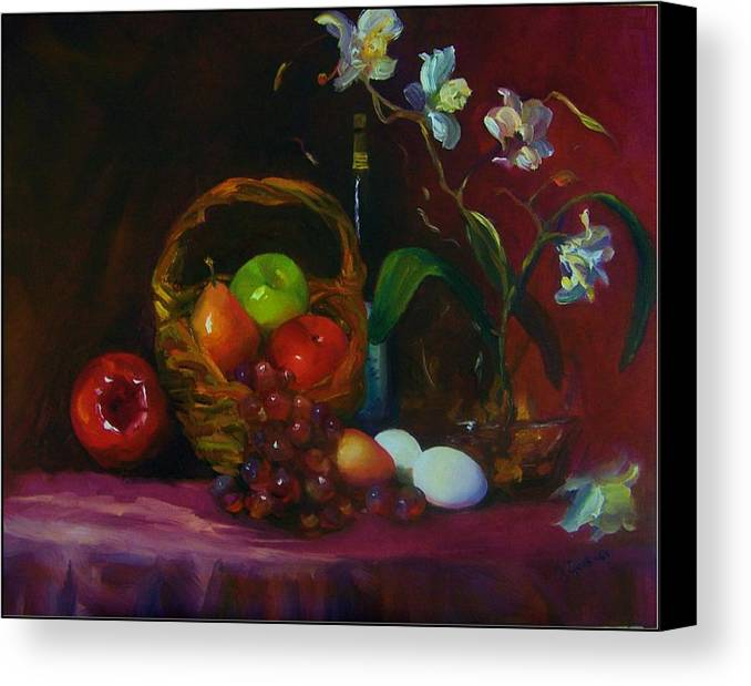 Fruit Basket Canvas Print featuring the painting Simple Gifts by Maryanne Jacobsen