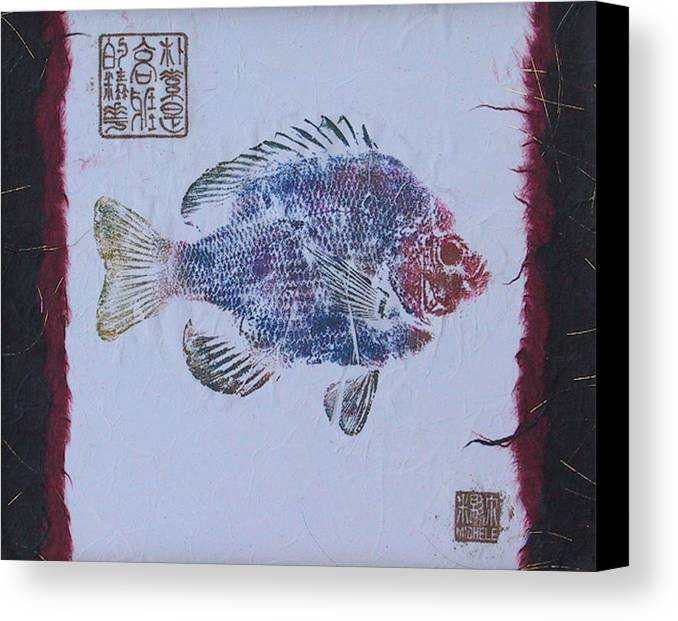 Gyotaku Canvas Print featuring the mixed media Simpliciity Is The Heart Of Elegance by Michele Caporaso