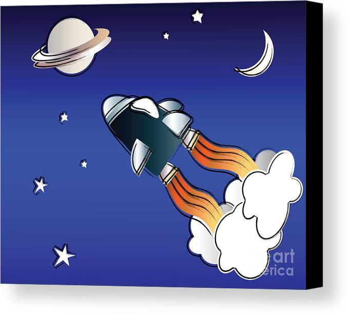 Background Canvas Print featuring the digital art Space Travel by Jane Rix
