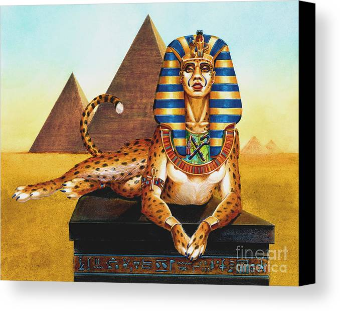 Cat Canvas Print featuring the painting Sphinx On Plinth by Melissa A Benson
