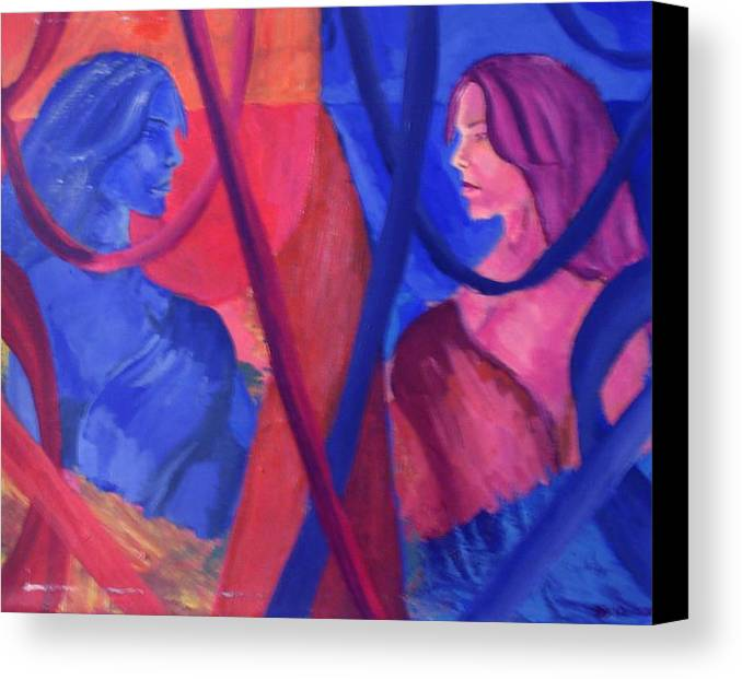 Split Personality Canvas Print featuring the painting Split Personality by Vykky Gamble