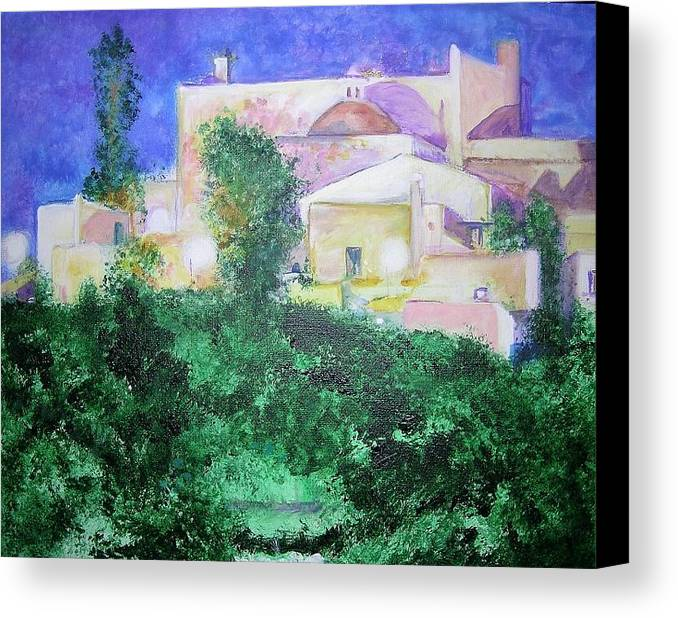 Landscape Canvas Print featuring the painting Staeulalia Church - Lit Up At Night by Lizzy Forrester