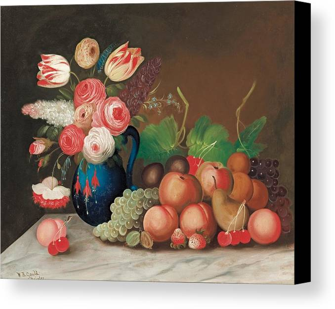 Flower Canvas Print featuring the painting Still Life With Fruit And Flowers by William Buelow Gould
