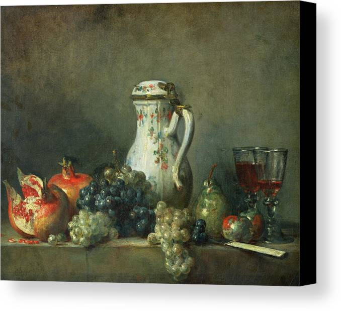 Still Life With Grapes And Pomegranates Canvas Print featuring the painting Still Life With Grapes And Pomegranates by Jean-Baptiste Simeon Chardin