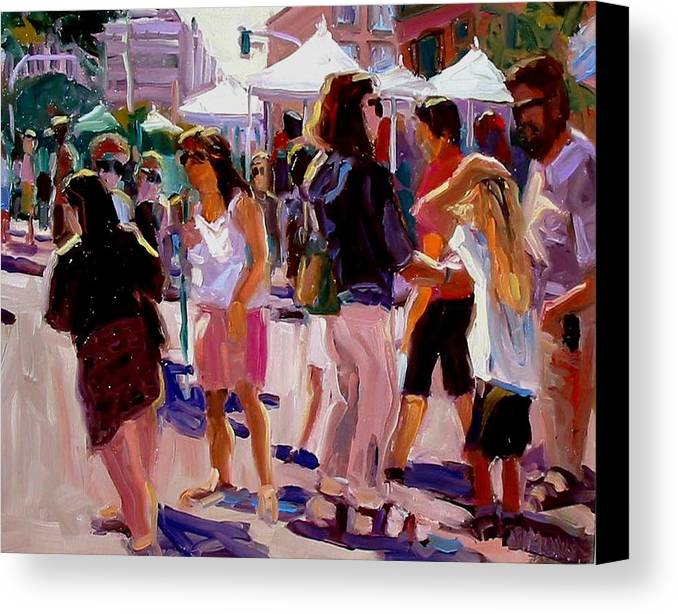 Landscape Paintings Canvas Print featuring the painting Sunday Market by Brian Simons