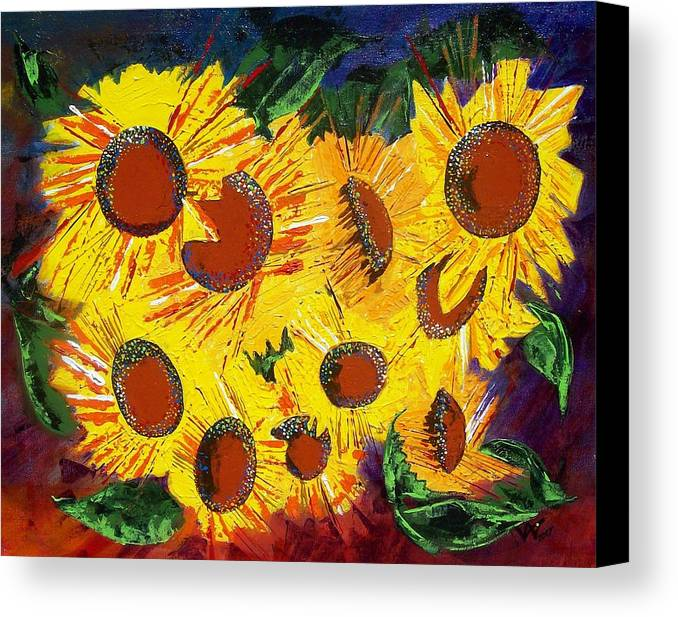 Sunflowers Canvas Print featuring the painting Sunflowers II by Valerie Wolf
