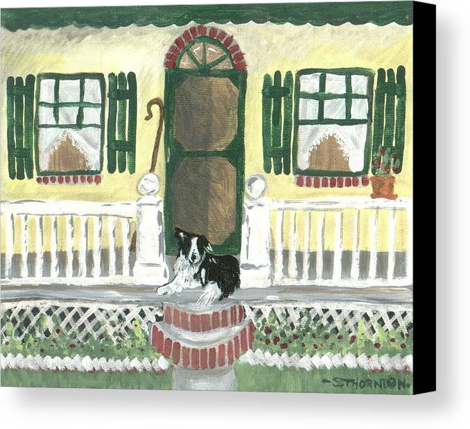Border Collie Canvas Print featuring the painting Sunny Porch by Sue Ann Thornton
