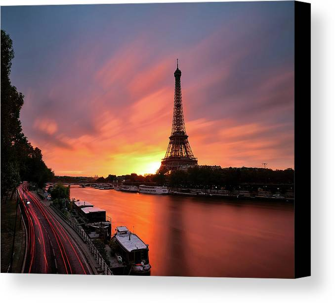 Horizontal Canvas Print featuring the photograph Sunrise At Eiffel Tower by © Yannick Lefevre - Photography
