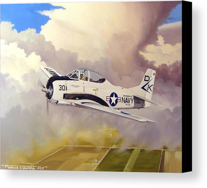 Military Canvas Print featuring the painting T-28 Over Iowa by Marc Stewart
