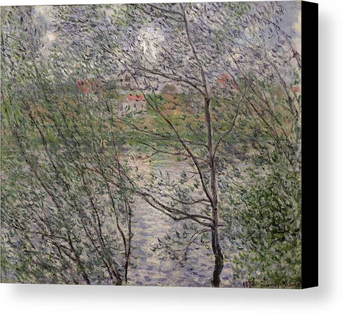The Canvas Print featuring the painting The Banks Of The Seine by Claude Monet