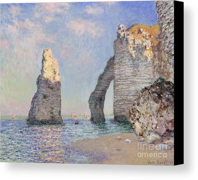 The Cliffs At Etretat Canvas Print featuring the painting The Cliffs At Etretat by Claude Monet